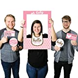 Hello Little One - Pink and Gold - Girl Baby Shower Photo Booth Picture Frame & Props - Printed on Sturdy Plastic Material
