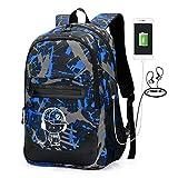 Cheap School Backpack for Boy Girl, Student Bookbag 25L Laptop bag w/USB Charging Port 3/5 Sets (Blue)