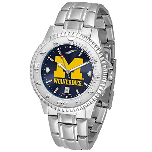 "UPC 842542038680, Michigan Wolverines NCAA Anochrome ""Competitor"" Mens Watch (Steel Band)"