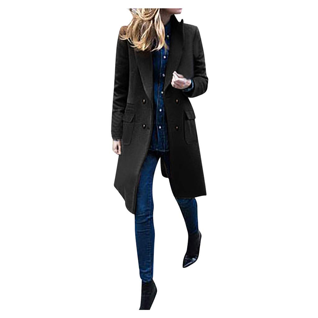 Women's Double-Breasted Jacket Long Sleeve Lapel Faux Fleece Jackets Windproof Warm Jacket Casual Loose Outwear Overcoat Blouse by Hatop-
