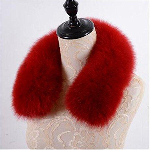 Gegefur Women Real Fox Fur Collars for Coat Jacket Solid Black Color Scarves Female Fashion Warm Genuine Fox Fur Winter Scarf (60cm, RED)