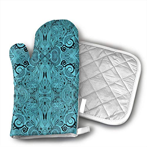 - Blue Diamonds Oven Mitts and Pot Holders Set with Polyester Cotton Non-Slip Grip, Heat Resistant, Oven Gloves for BBQ Cooking Baking, Grilling