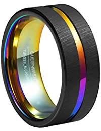 8mm Rainbow Black Brushed Tungsten Wedding Band Triton Gorgeous Center Grooved Couples Rings