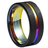 Queenwish 8mm Rainbow & Black Brushed Tungsten Carbide Wedding Band Center Groove Couples Engagement Rings 6