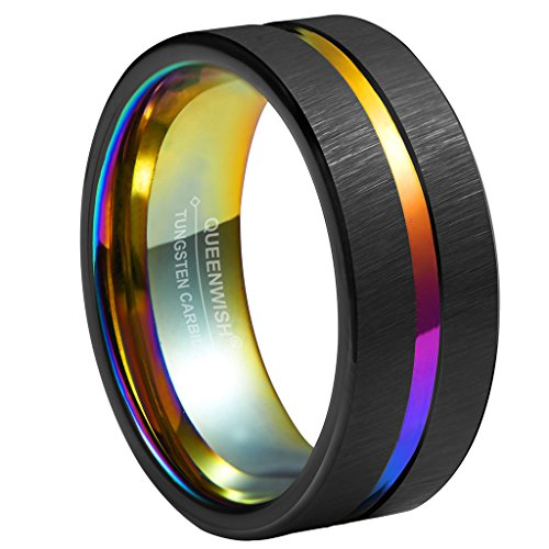 Queenwish 8mm Rainbow & Black Brushed Tungsten Carbide Wedding Band Center Groove Couples Engagement Rings 7