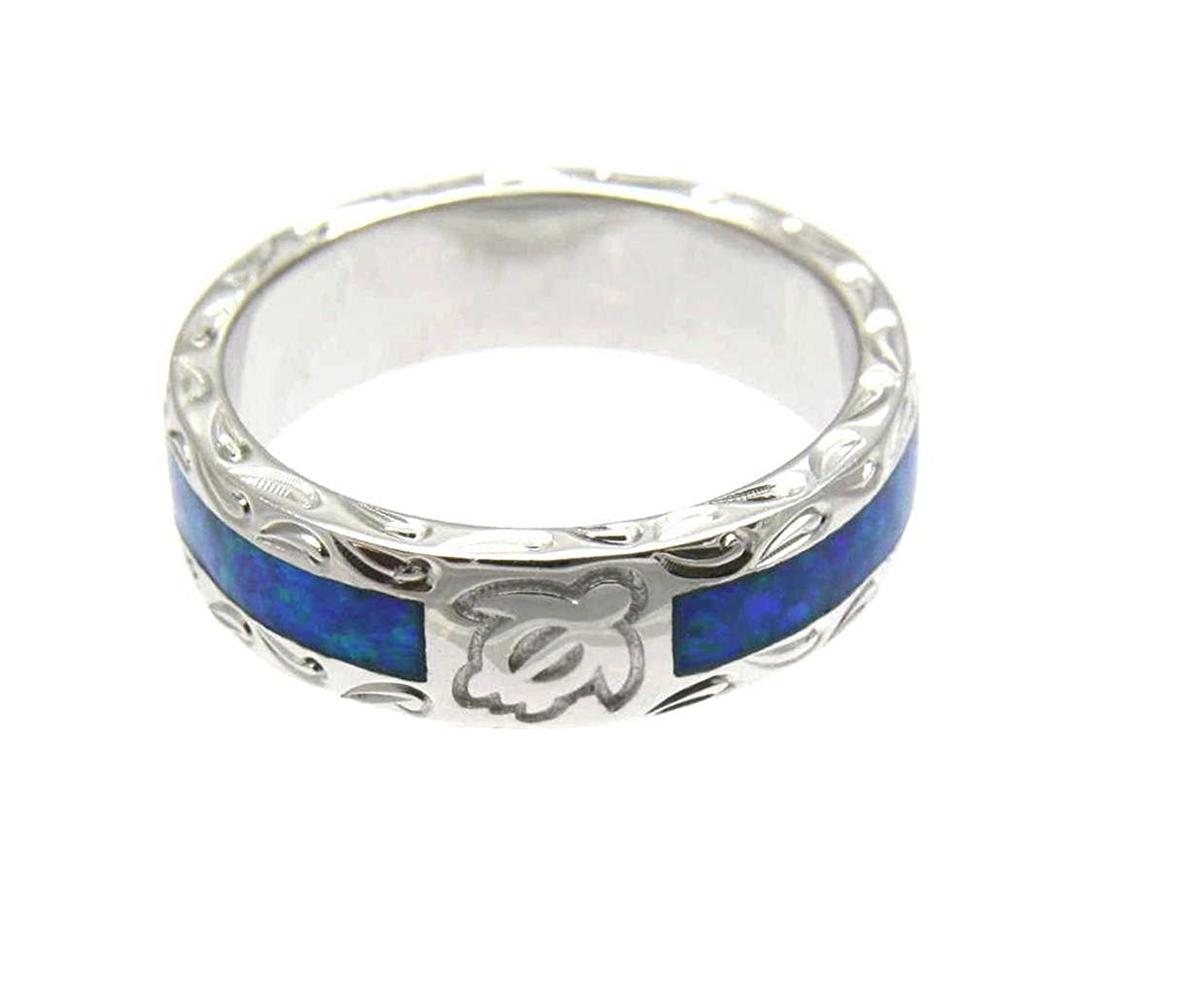 Arthurs Jewelry Sterling Silver 925 Synthetic Opal Hawaiian Honu Turtle Eternity Wedding Band Ring Unisex Size 5 to 12