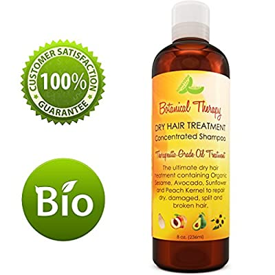 Dry Hair Treatment Shampoo Botanical Therapeutic Formula for Dry Damaged Split Hair With Antioxidants Sesame Jojoba Sunflower Seed Oil Shiny Strong & Hydrated Hair for Women Men Teens by Honeydew 8 oz