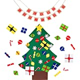 HEPY DIY Felt Christmas Tree Set, with Merry Christmas Burlap Banners Garlands Hanging Christmas Party Holiday Decorations with 30pcs Detachable Xmas Gifts for Child
