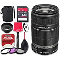 Canon EF-S 55–250mm f/4–5.6 IS II Lens with 32GB Ultra Pro Speed Class 10 SDHC Memory Card + 3pc Filter Kit (UV-FLD-CPL) + Deluxe Sleeve + Celltime Microfiber Cleaning Cloth - International Version