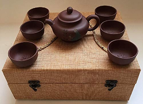 (Authentic Chinese Yixing Zisha (Purple Clay) Teapot Set (7 Pieces) in a Beautiful Custom Made Box)