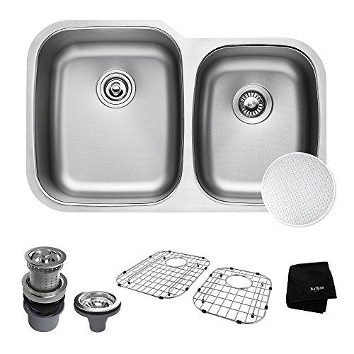 KRAUS Outlast MicroShield Scratch-Resist Stainless Steel Undermount 60/40 Double Bowl Sink, 32