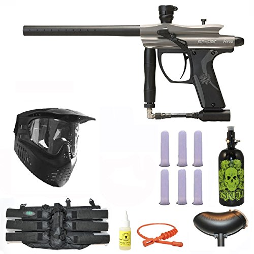 Paintball Guns Spyder Electronic (Spyder Fenix Electronic Paintball Marker Gun 3Skull N2 Mega Set - Silver/Grey)