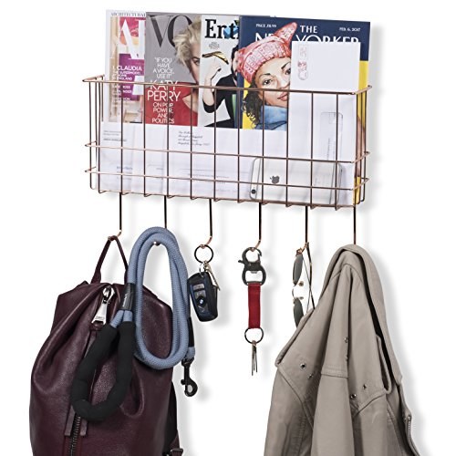 WALL35 Sicily Unique Metal Wire Basket - Wall Mounted Entryway Organizer - Key Holder - Coat Rack with Hooks - Mail and Magazine Holder (Copper) by Wall35