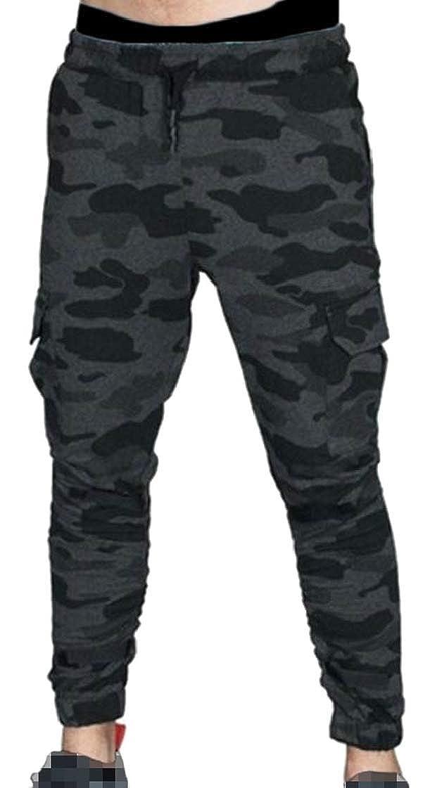 Lutratocro Mens Drawstring Multi Pocket Casual Cargo Elastic Waist Stretch Jogger Pants