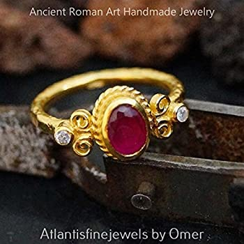 *FREE SIZING** HANDMADE RUBY & TOPAZ RING 24K GOLD OVER 925K SILVER BY OMER