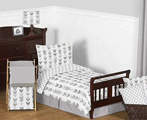 Sweet Jojo Designs 5-Piece Grey and White Woodland Arrow Boy or Girl Toddler Kid Childrens Bedding Set s Comforter, Sham and Sheets