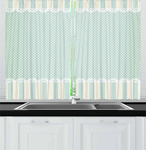 Ambesonne Shabby Chic Kitchen Curtains, Traditional Old Fashioned Vertical Stripes Ornaments and Dots, Window Drapes 2 Panel Set for Kitchen Cafe, 55 W X 39 L Inches, Almond Green Cream White (Satin Shade Cream)