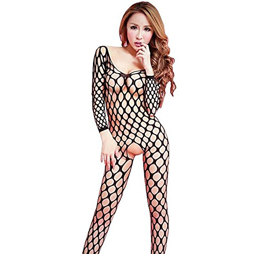 VNFNMI Sexy Lingerie Open Crotch Big Hole Fishnet Crotchless Bodystocking Bodysuit Nightwear - Hole Big Pantyhose Fishnet