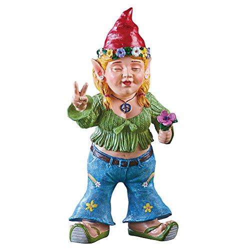 Collections Flower Children Hippie Garden Gnome Statue Décor Resin Figurines, Harmony (Resin Flip Flop)