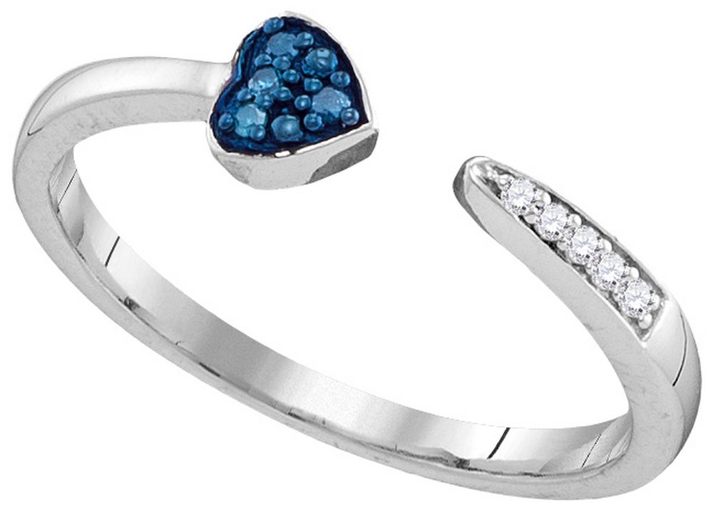 Size - 7.5 - Solid 925 Sterling Silver Round Blue And White Diamond Channel Set Heart Fashion Ring (.05 cttw)