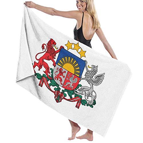 幸運なひねくれたかすれたビーチバスタオル バスタオル ラトビア国旗の紋章 ビーチタオル 海水浴 旅行用タオル 多用途 おしゃれ White
