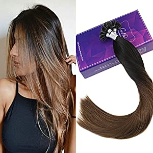 """LaaVoo 22"""" 50Strands 50Gram Total Fusion UTip Extensions Ombre #1b Natural Black to Color Brown Long Remy Keratin Hair Extensions 1g/s"""