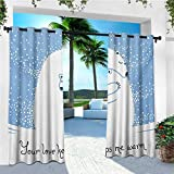 leinuoyi Animal, Outdoor Curtain Set of 2 Panels, Mother Polar Bear Hugging Her Baby in The Snow North Winter Love Valentines Art, for Patio Waterproof W120 x L96 Inch Blue White