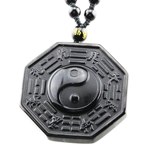 FOY-MALL Natural Obsidian Yin-yang Eight Diagrams Pendant Adjustable Necklace XL1397]()