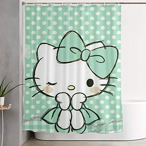 WSXEDC Shower Curtain Hello Kitty Green Dot Waterproof Curtain 60 X 72 Inches