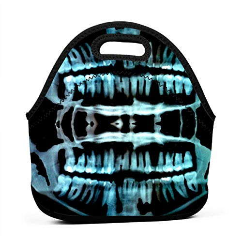 Fashion.Reborn Neoprene Lunch Bags,Halloween Spooky Skeleton Teeth Lunch Bag for Kids Women and Men,School Picnic Work Lunch Bags,Thermal Cooler Lunch Pouch with Portable -