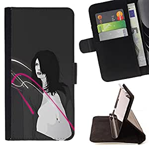 DEVIL CASE - FOR Samsung Galaxy S4 Mini i9190 - Fashion Sexy Belly Woman Breasts Art Drawing - Style PU Leather Case Wallet Flip Stand Flap Closure Cover