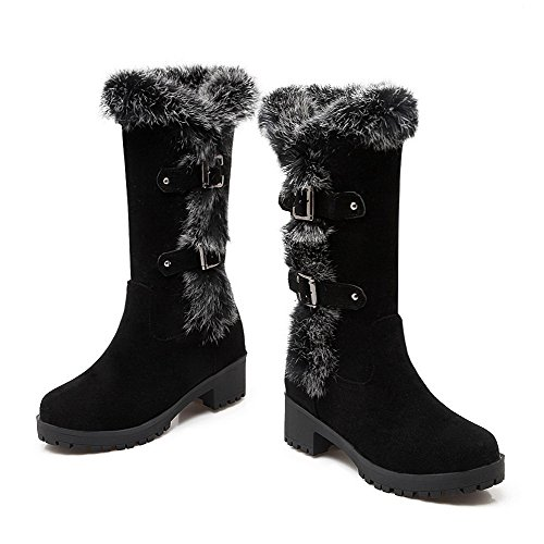 Allhqfashion Women's Kitten Heels Frosted Mid Top Solid Pull On Boots Black RVCG0dCpMb