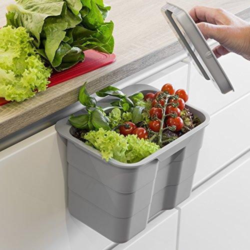 SO-TECH® BIKI Bio-Müll Abfallbehälter 4,2 L grau mit Deckel Abfallsammler zum Einhängen Mülleimer Tischmülleimer