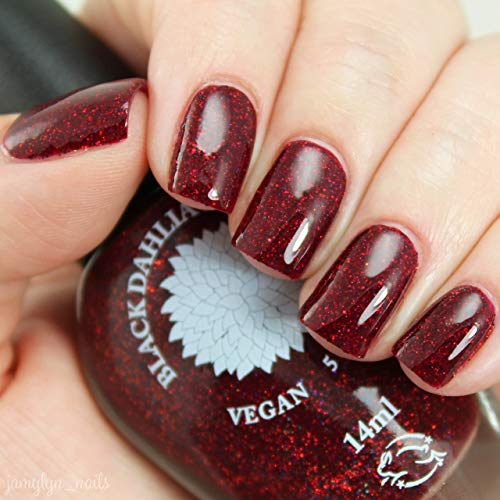 Red Dahlia | Red Jelly Nail Polish with Red & Black Holo Glitter | by Black Dahlia ()