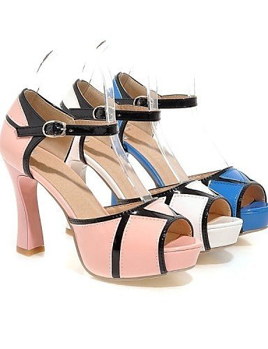 ShangYi Womens Shoes Patent Leather Chunky Heel Heels / Peep Toe / Platform Sandals Office & Career / Dress / Pink / White Blue