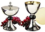 Stratford Chapel Silver Tone Hammered Chalice and Paten Set with Ciborium and Celtic Cross Cover, 8 Inch