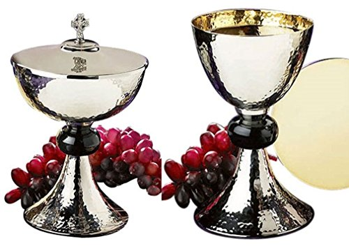 Stratford Chapel Silver Tone Hammered Chalice and Paten Set with Ciborium and Celtic Cross Cover, 8 Inch by Stratford Chapel