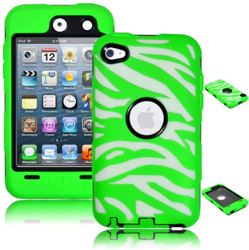 Bastex Heavy Duty Hybrid Case for Touch 4, 4th Generation iPod Touch - White Silicone/Green Zebra Print Hard ()