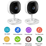 [2018 Newest] Security Camera,Safevant 1080P HD Indoor IP Camera Wireless(180° Panoramic Camera) with Night Vision,Two-Way Audio,Cloud Service Available,Motion Detection,2 Packs