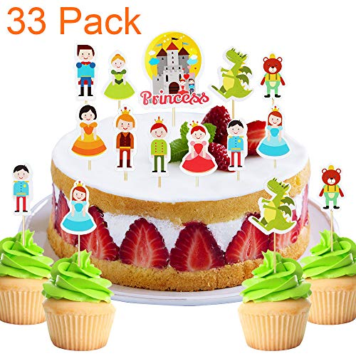 33 Pack Prince and Princess Fairy Tale Cupcake Toppers For Baby Shower hildren Birthday Cake Fruit Doughnut Biscuits Party Toothpick Decorations.