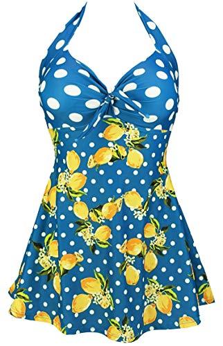 (COCOSHIP Baleine Blue & White Polka Orange Yellow Lemon Splice Sailor Swimsuit One Piece Skirtini Cover Up Bathing Swimdress S)