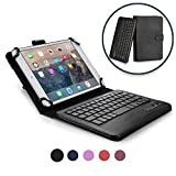 COOPER INFINITE EXECUTIVE Keyboard case for 7'' - 8'' inch tablets | 2-in-1 Bluetooth Wireless Keyboard & Leather Folio Cover | Universal Fit, Stand, Vegan Leather, 100HR Battery, 14 Hotkeys (Black)