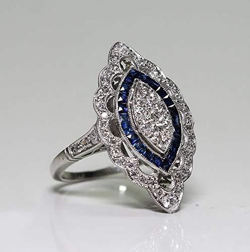 - Dokis 925 Silver Fashion Women Jewelry Sapphire White Topaz Wedding Ring Size 6-10 | Model RNG - 16525 | 6
