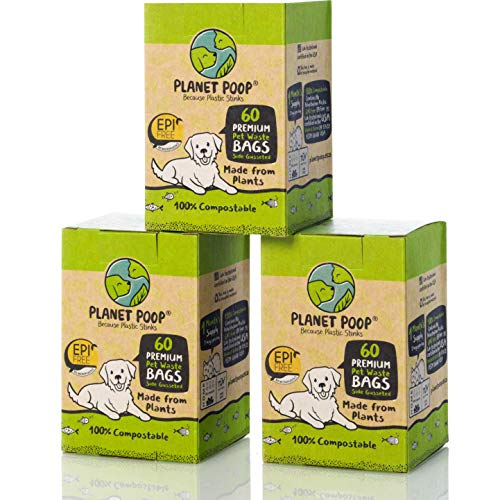 PLANET POOP Compostable Dog Poo Bags on Refill Rolls | Biodegradable Un-Scented Dog Waste Bags 100% Plastic Free | Thick…