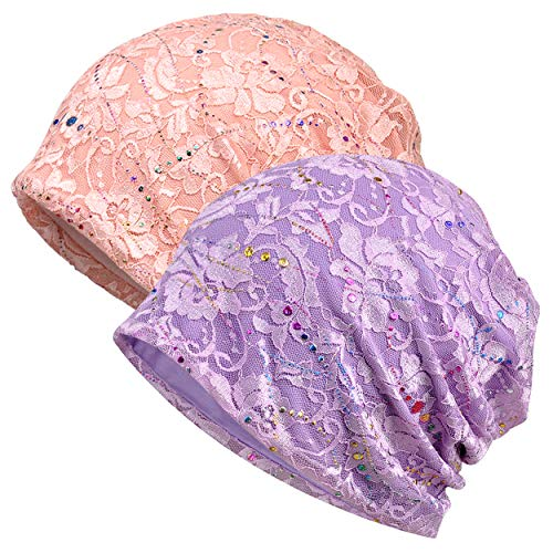 (Jemis Women's Baggy Slouchy Beanie Chemo Cap for Cancer Patients (2 Pack Lace Pink & Purple))