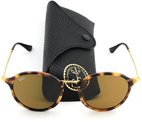 Ray-Ban RB2447 1160 Round Fleck Sunglasses Tortoise Frame / Brown Lens - Round Ray Ban Fleck Sunglasses