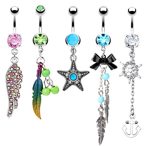 BodyJ4You 5PC Belly Button Rings Leaf Star Feather Dangle Steel Bar 14G Women Navel Piercing