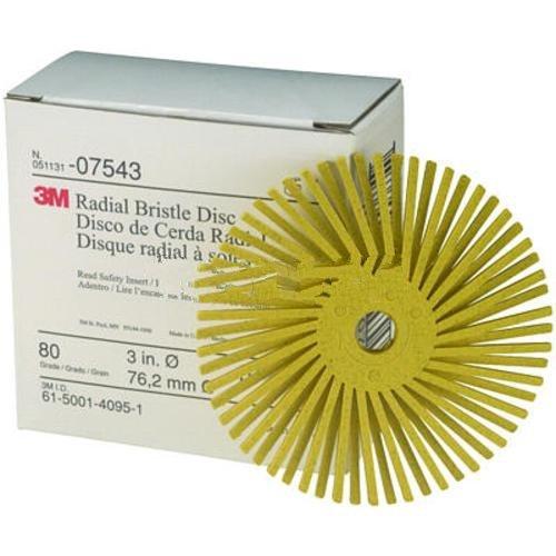 3M 7543 3' Scotch-Brite Radial Bristle Discs, 80 Grade, Medium, Yellow