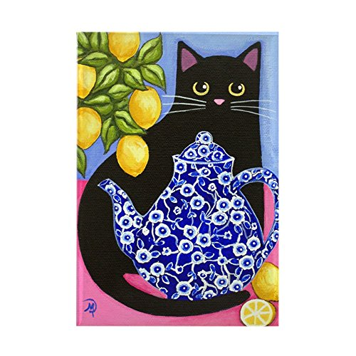 CafePress Black Cat Blue Calico Teapot Large Rect. Magnet Rectangle Magnet, 2