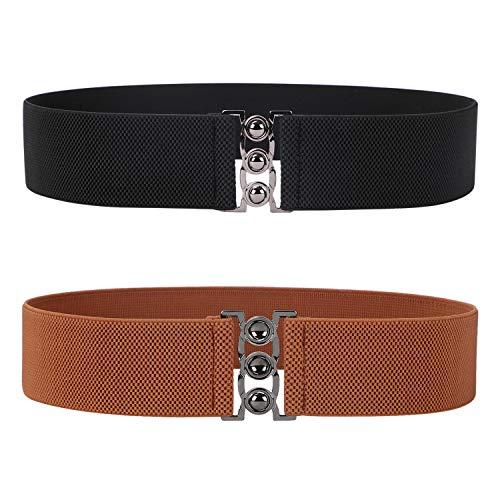 Wide Stretch Belts for Women - Ladies Elastic Waistband Stretchy Retro Waist Belt Black by JASGOOD …